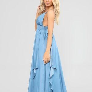 Fashion nova blue One with the waves maxi dress